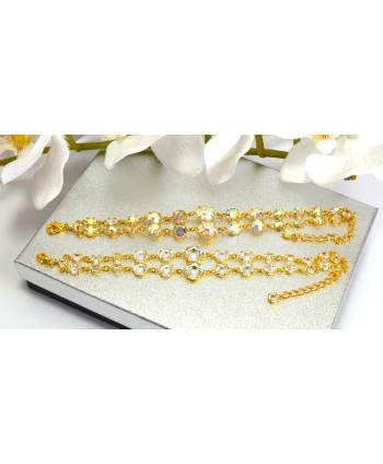 Bransoletka podwójne kryształki stopniowane złote