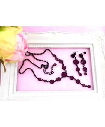 Komplet kryształki w czarnej oprawie-kolory