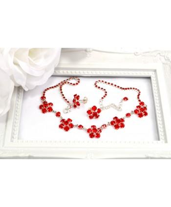 Komplet z kryształkami w srebrze czerwony