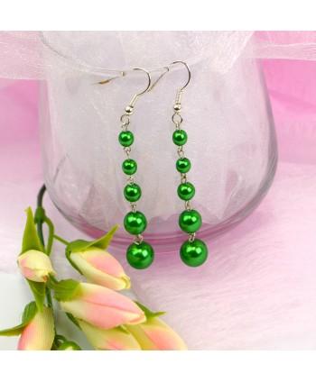 Kolczyki długie zielone perełki