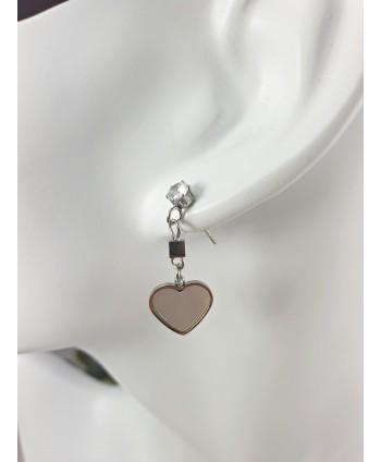 Kolczyki stal wiszące serca z masą perłową