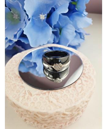 Pierścionek stal ceramika czarna i biała