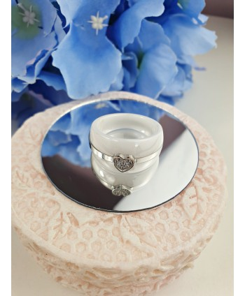 Pierścionek stal ceramika biała