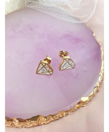 Kolczyki stal cyrkoniowe diamenty