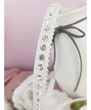Opaska do włosów biała z kryształkami