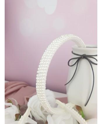 Opaska do włosów z perełek szeroka