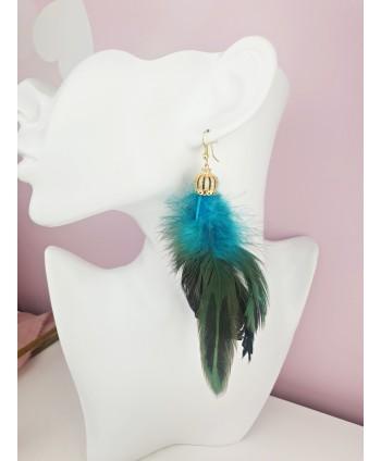 Kolczyki pióra turkusowe zielone