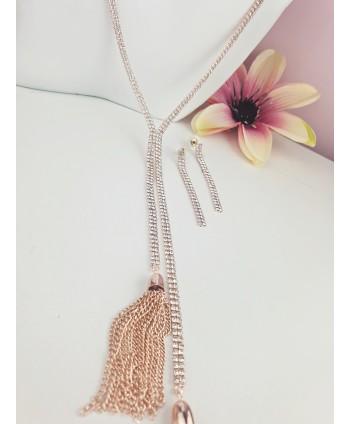 Komplet wisior z kolczykami różowe złoto