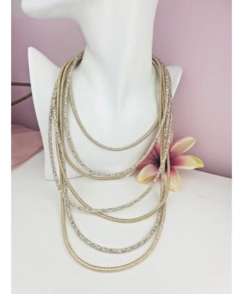Naszyjnik długi złoty siateczkowy z kryształkami
