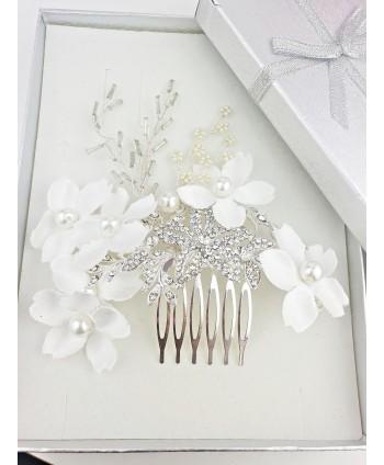 Grzebień ozdobny srebrny z białymi kwiatami