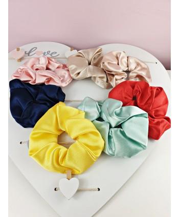 Gumki scrunchie kolorowe satynowe