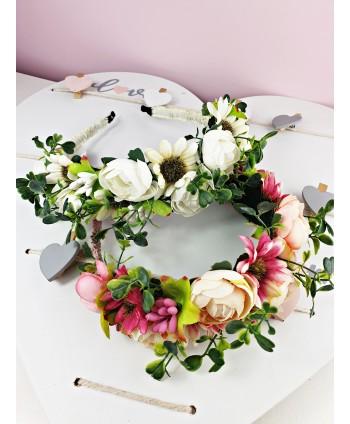 Opaski do włosów wianki kwiaty róż i biel