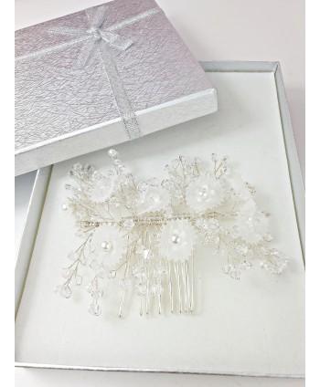 Grzebień srebrne kryształki z kwiatkami
