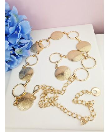 Pasek biżuteryjny złote kółeczka