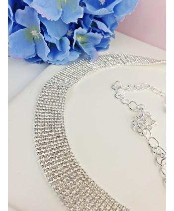 Pasek biżuteryjny srebrny cyrkoniowy