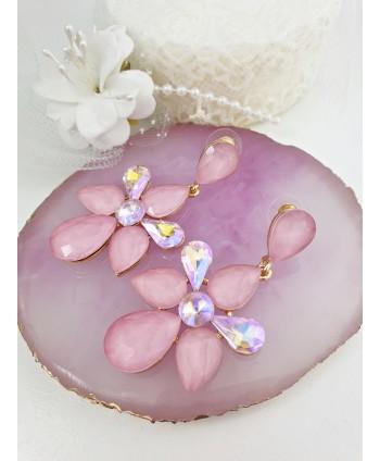Kolczyki różowe kamienie