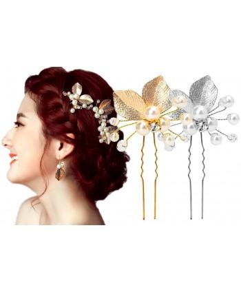 Kokówki do włosów ozdobne listki z perełkami