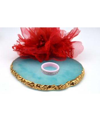 Pierścionek różowy ceramiczny dżety