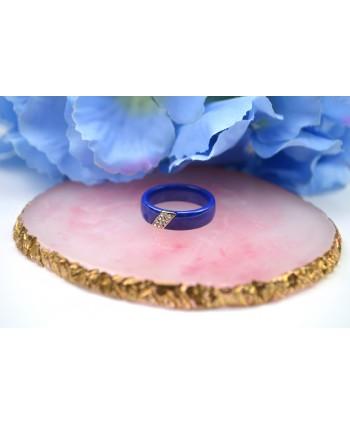 Pierścionek chabrowy ceramiczny z dżetami