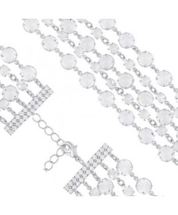 Bransoletka pięciorzędowa przezroczyste kryształki w srebrze