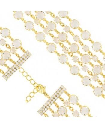 Bransoletka pięciorzędowa przezroczyste kryształki w złocie