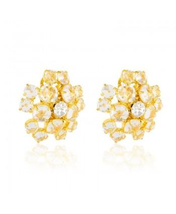 Klipsy złote kwiatuszki z kryształkami
