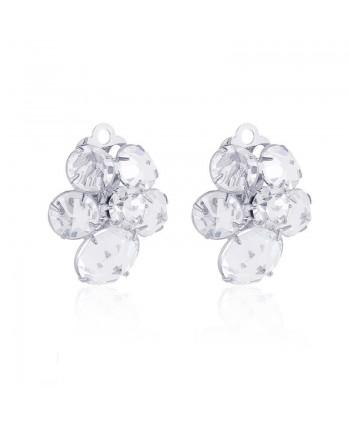 Klipsy srebrne z kryształkami - kwiatuszki