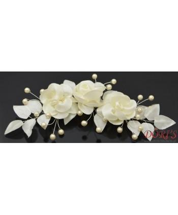 Stroik ślubny kwiaty ecru perełki