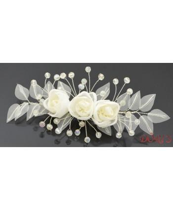 Stroik ślubny kwiaty jasny ecru szyfon kryształki