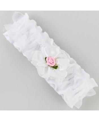 Opaska biała z kwiatuszkami