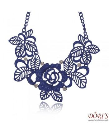 Naszyjnik niebieskie ażurowe kwiaty
