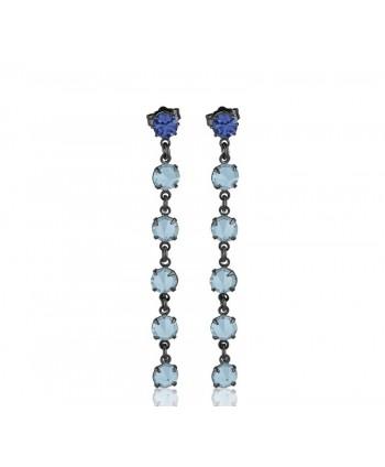 Kolczyki-  niebieski chanel- 7 cm
