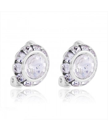 Klipsy srebrne okrągłe z kryształkami