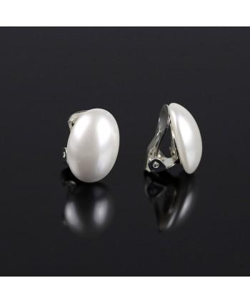Klipsy owalna biała perła