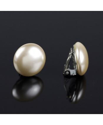 Klipsy perła ecru - 2 cm