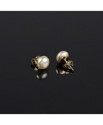 Kolczyki perła brązowa matowa- 0