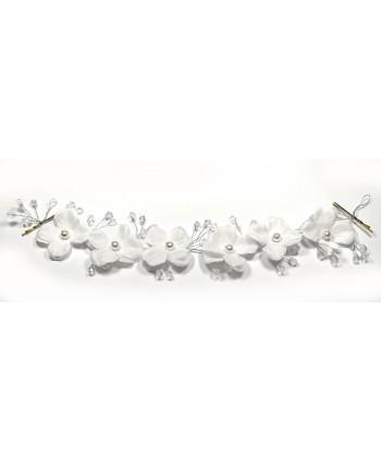 Ozdoba do włosów białe kwiaty