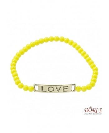 Bransoletka żółte koraliki na gumce LOVE