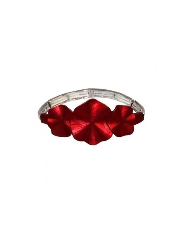 Bransoletka matowe czerwone kwiatuszki na gumce