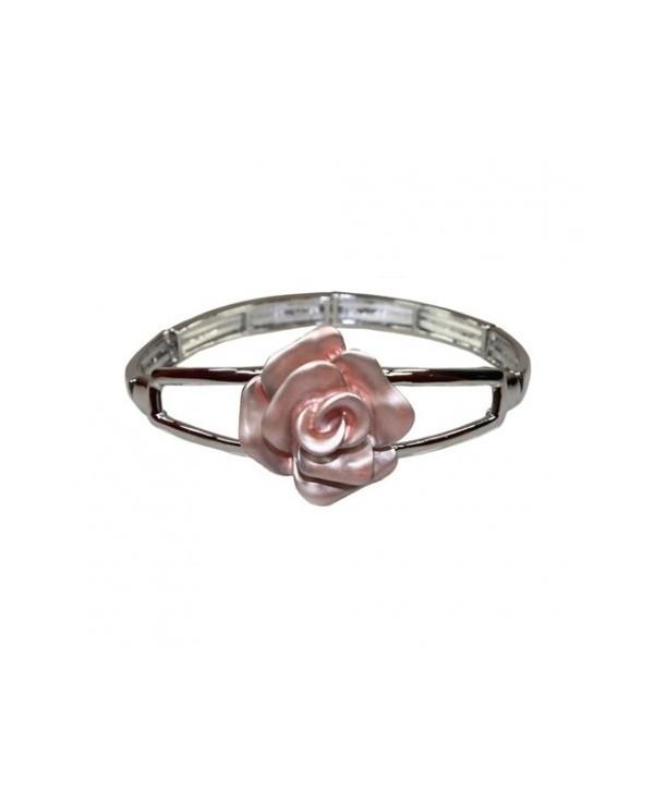 Bransoletka róża pudrowy róż na gumce
