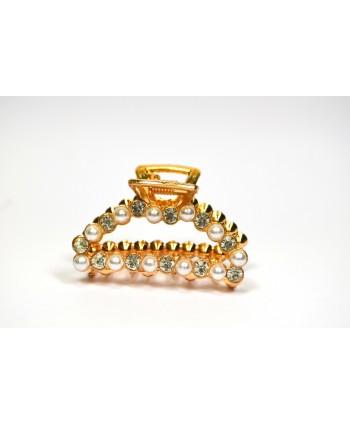 Spinka klamra szczeka metalowa złota z dżetami i perełkami