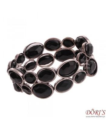 Bransoletka czarno-stalowa