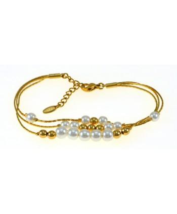Bransoletka stal złote łańcuszki z wplecionymi perełkami