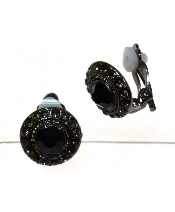 Klipsy z czarnym kryształkiem