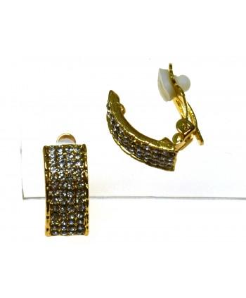 Klipsy wysadzane cyrkoniami w złotym i srebrnym kolorze
