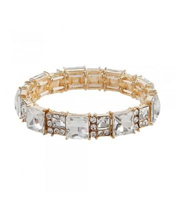 Bransoletka złota z kwadratowymi kryształkami
