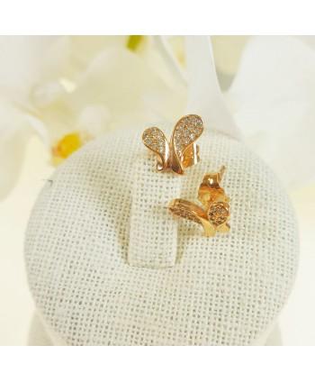 Kolczyki stal chirurgiczna złocona motylki