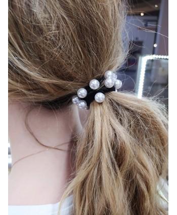 Gumka do włosów czarna z perełkami