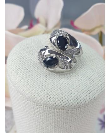 Kolczyki czarne kamienie KC0142