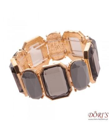 Bransoletka złota z szarymi prostokątnymi kamieniami